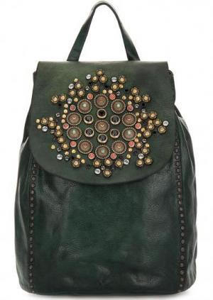 Кожаный рюкзак с металлическим декором Campomaggi. Цвет: зеленый