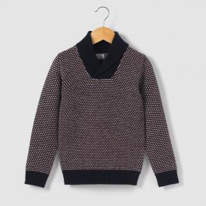 Пуловер теплый с шалевым воротником, 3-12 лет R kids. Цвет: синий морской