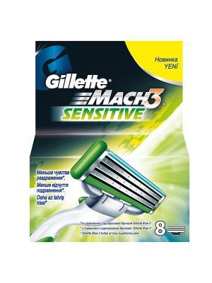 Cменные кассеты для бритья MACH3 Sensitive, 8 шт GILLETTE. Цвет: зеленый