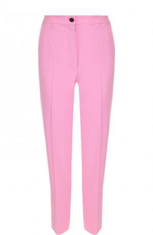 Укороченные шерстяные брюки со стрелками Dolce & Gabbana. Цвет: розовый