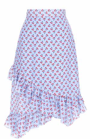 Шелковая юбка с ярким принтом и оборками Altuzarra. Цвет: голубой