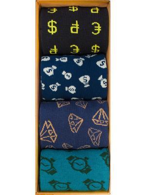 Набор миллионера (4 пары в коробке), дизайнерские носки SOXshop. Цвет: черный,синий,светло-желтый