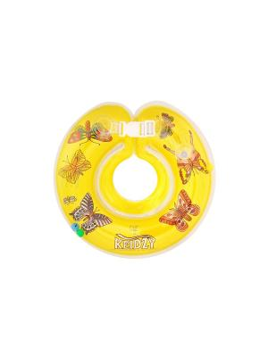 Круг на шею для купания Кейджи, 0-24 мес., бабочки Keidzy. Цвет: желтый