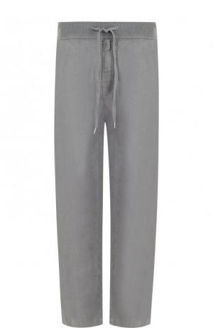 Льняные укороченные брюки прямого кроя 120% Lino. Цвет: серый