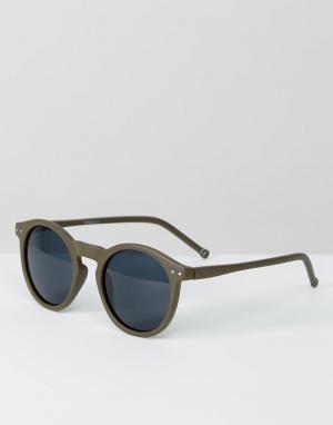 ASOS Круглые солнцезащитные очки в матовой оправе оливкового цвета. Цвет: зеленый
