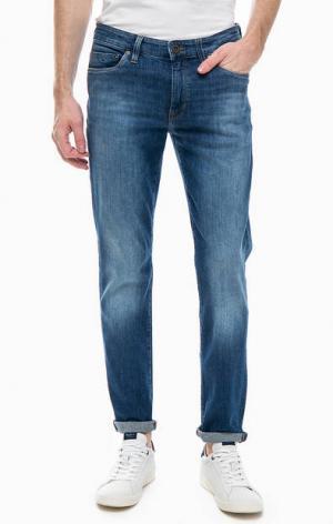 Зауженные джинсы с потертостями Marc O'Polo. Цвет: синий