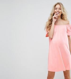 ASOS Maternity Платье мини для беременных с открытыми плечами. Цвет: розовый
