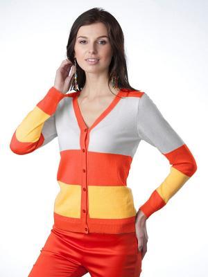 Кардиган Romgil. Цвет: серый, желтый, оранжевый