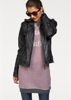 Кожаная куртка Kangaroos. Цвет: розовый потертый, светло-серый потертый, черный потертый