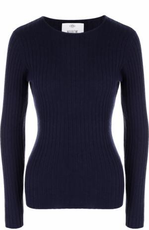 Кашемировый пуловер фактурной вязки Allude. Цвет: темно-синий