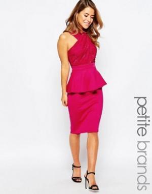 Lipstick Boutique Petite Платье с кружевным лифом и баской. Цвет: розовый