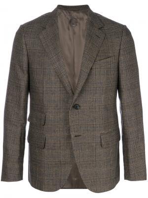 Пиджак в клетку Caruso. Цвет: коричневый