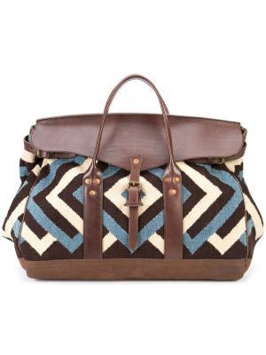 Дорожная сумка с зигзагообразным узором Rrl. Цвет: коричневый
