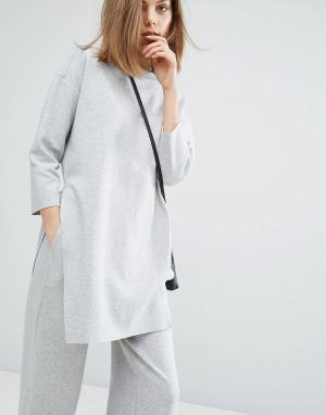 Dr Denim Комбинируемый длинный свитер Rylen. Цвет: серый