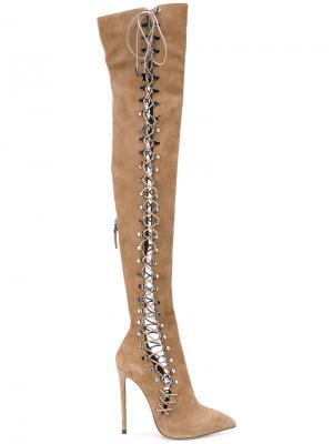 Ботфорты на шнуровке Gianni Renzi. Цвет: телесный