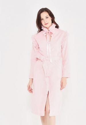 Халат домашний Luisa Moretti. Цвет: розовый