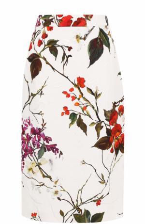 Юбка-карандаш с цветочным принтом Escada. Цвет: белый