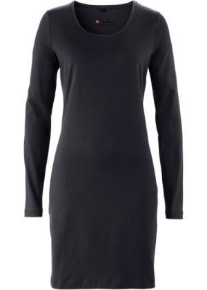 Трикотажное платье стретч с длинным рукавом (черный) bonprix. Цвет: черный