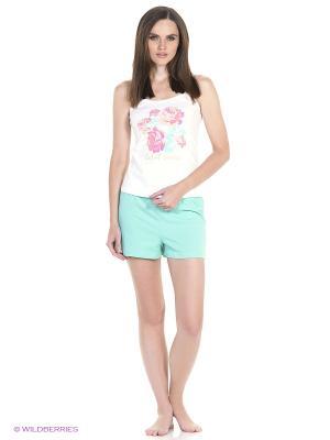 Пижама: топ, шорты Modis. Цвет: розовый, зеленый