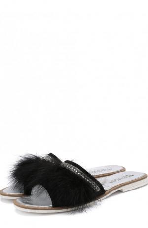 Текстильные шлепанцы с фактурной отделкой и глиттером Monnalisa. Цвет: черный