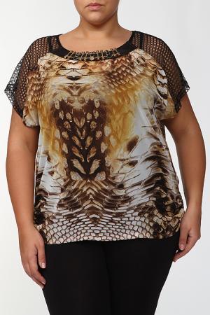 Комплект: блузка, топ KRATOS. Цвет: горчичный, черный