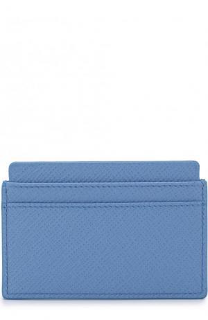 Кожаный футляр для кредитных карт Smythson. Цвет: голубой