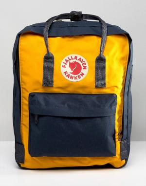 Fjallraven Желто-синий рюкзак с контрастной отделкой Kanken 16 л. Цвет: темно-синий