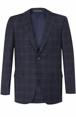 Шерстяной однобортный пиджак в клетку Canali. Цвет: темно-синий