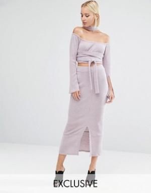 Lavish Alice Вязаная юбка миди в рубчик. Цвет: розовый