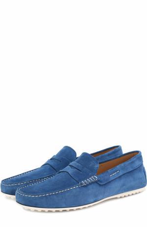 Замшевые мокасины с перемычкой и контрастной прострочкой Tod's. Цвет: синий
