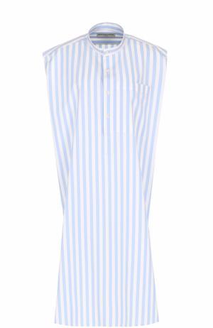 Платье в контрастную полоску с воротником-стойкой Balenciaga. Цвет: голубой