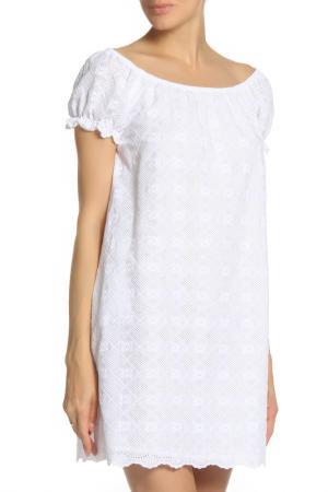 Платье свободного кроя с короткими рукавами Anna Rachele. Цвет: белый