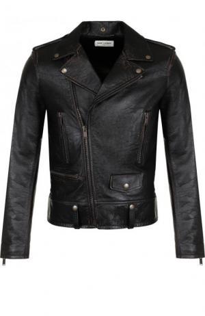 Кожаная куртка с косой молнией Saint Laurent. Цвет: черный