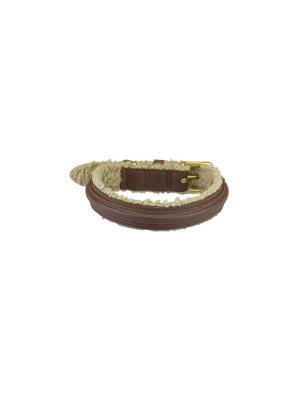 Ошейник кожа/мех FUR коричневый S 560*2,5*0,5 см размер шеи 32-39 для собак Happy House. Цвет: коричневый