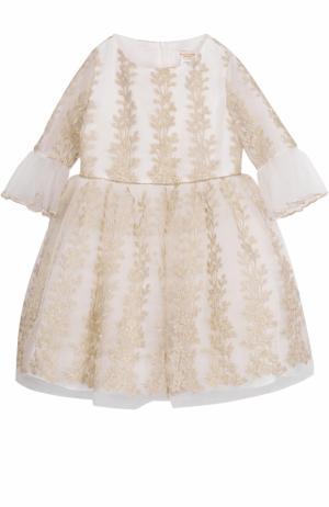 Платье-миди с металлизированной вышивкой и оборками David Charles. Цвет: золотой