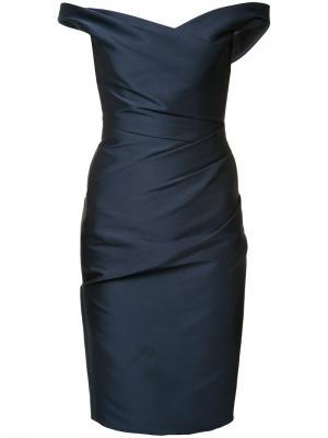 Платье с открытыми плечами Monique Lhuillier. Цвет: синий