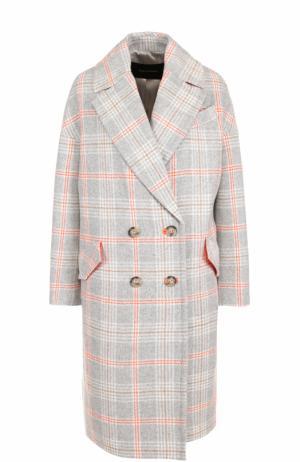 Двубортное шерстяное пальто в клетку Tara Jarmon. Цвет: серый