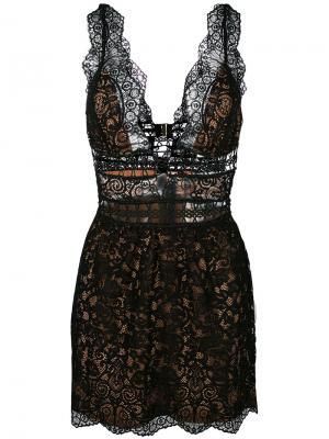Кружевное платье с глубоким вырезом For Love And Lemons. Цвет: чёрный