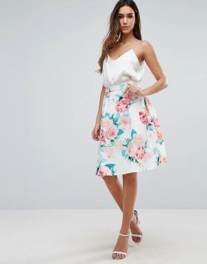 Jessica Wright Расклешенная юбка с цветочным принтом. Цвет: белый