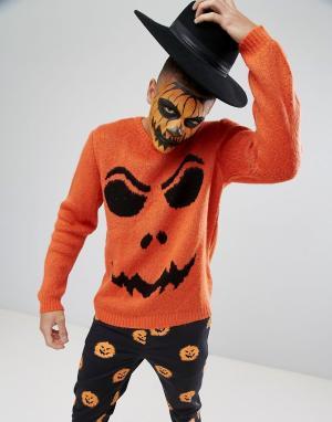 ASOS Джемпер цвета тыквы с характерным для Хэллоуина принтом. Цвет: оранжевый