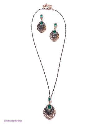 Комплект Lovely Jewelry. Цвет: золотистый, черный, темно-зеленый, серебристый