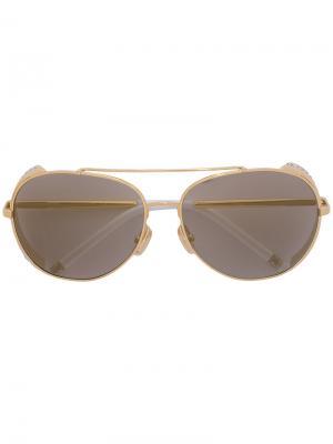 Солнцезащитные очки-авиаторы с кристаллами Swarovski Boucheron. Цвет: металлический