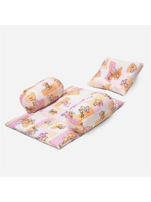 Подушка BabySet Мишки-малышки, 60х10 БИОСОН. Цвет: голубой, бежевый