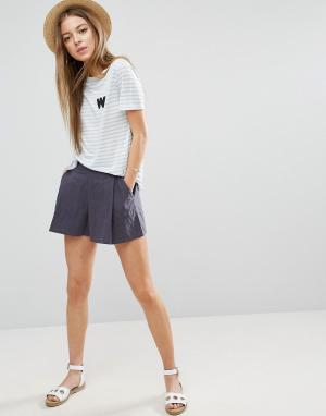 ASOS Льняная юбка-шорты плиссе. Цвет: мульти