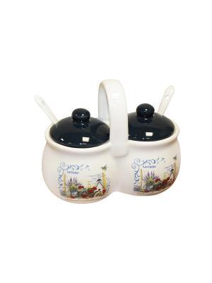Набор для специй Лаванда (2 емкости по 170г) в п/у Elff Ceramics. Цвет: черный, белый