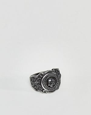 Rebel Heritage Черное кольцо с гравированным черепом. Цвет: черный