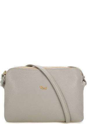 Кожаная сумка с тремя отделами Bruno Rossi. Цвет: серый