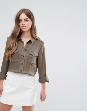 Pieces Рубашка в стиле милитари Kim. Цвет: зеленый