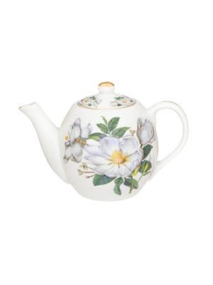 Чайник Белый шиповник Elan Gallery. Цвет: белый, зеленый