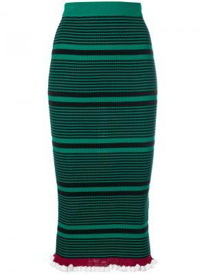 Облегающая юбка в полоску Kenzo. Цвет: зелёный